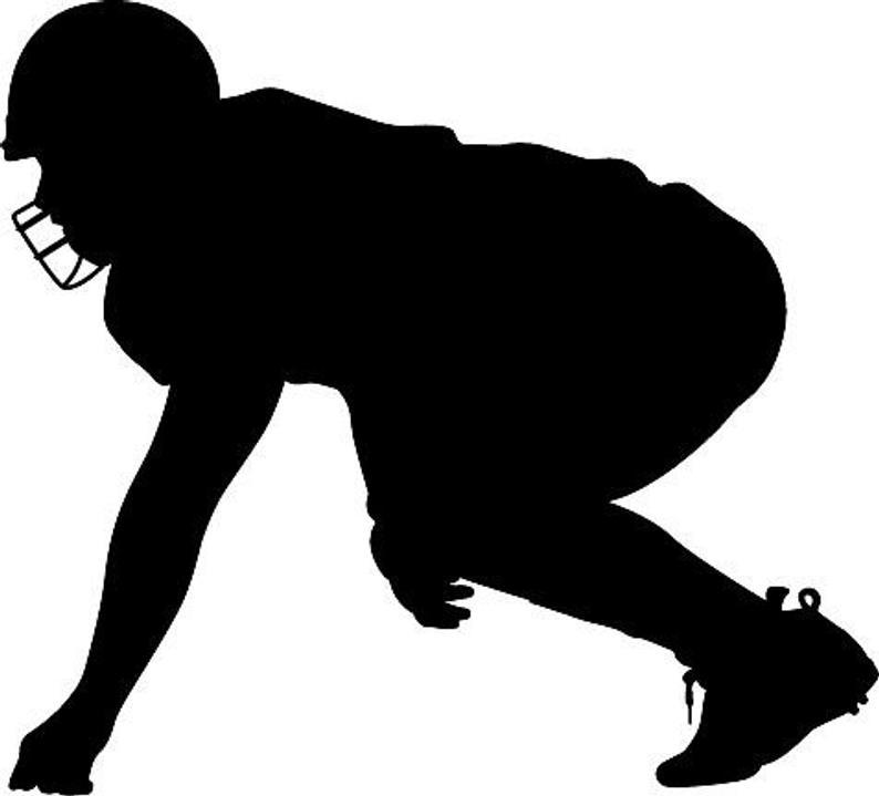 Player silhouette die cut. Football clipart hike