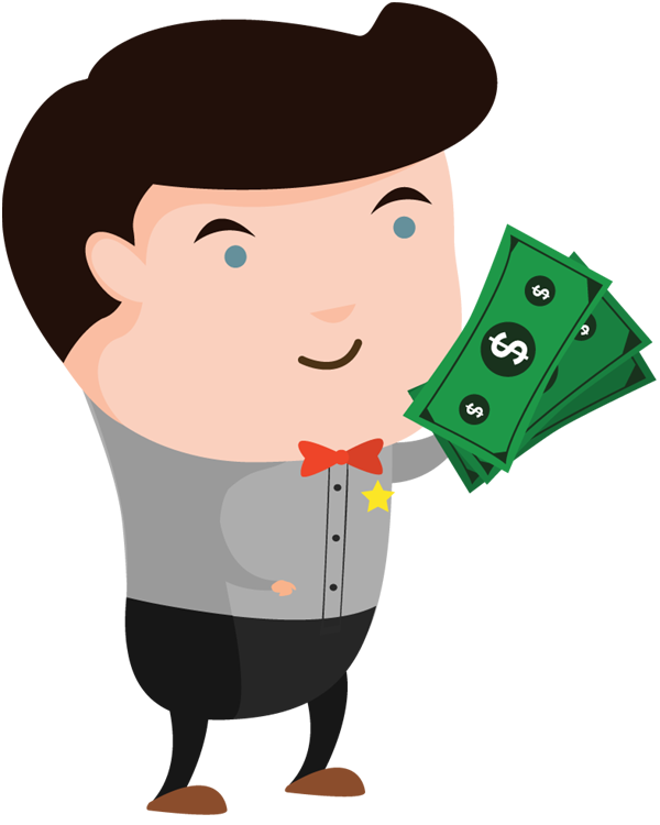 Man holding clipart people. Cartoon money png