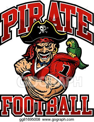 Pirate clipart football. Vector illustration eps