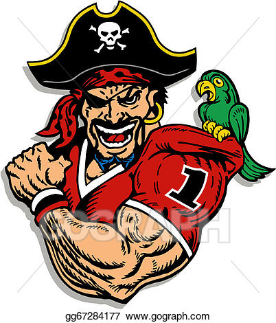 Pirate clipart football. Vector stock player illustration