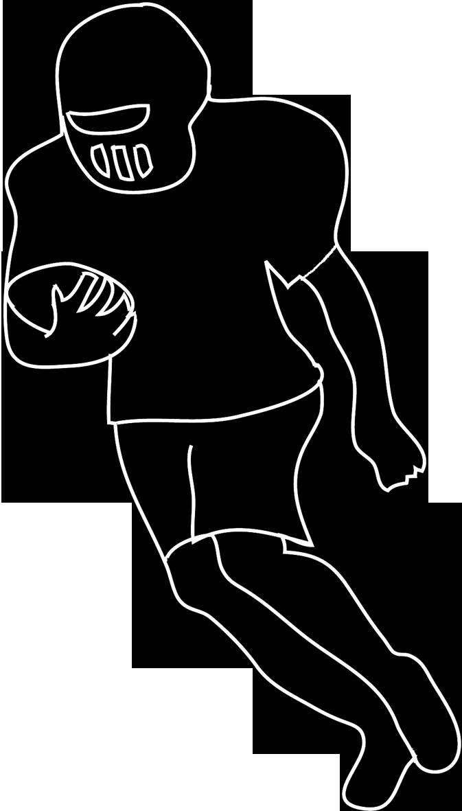 Football runner frames illustrations. Sports clipart silhouette