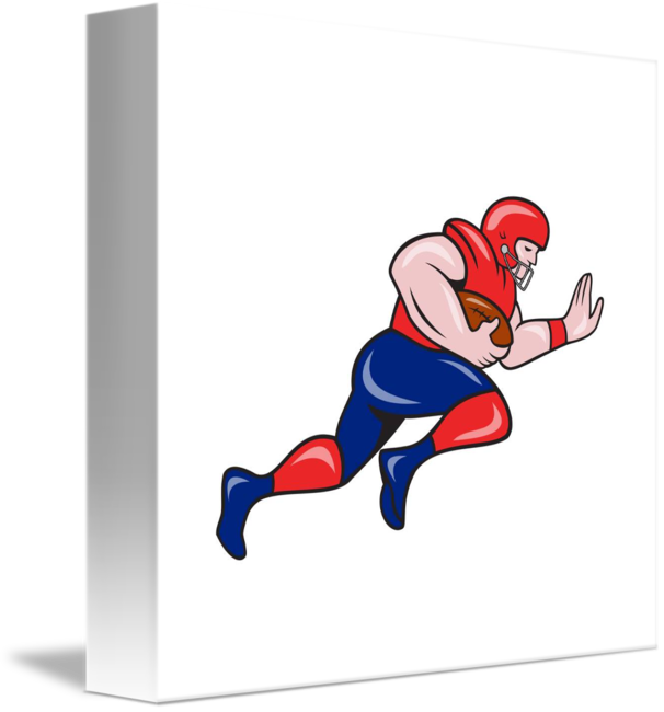 Football clipart running back. American charging cartoon by