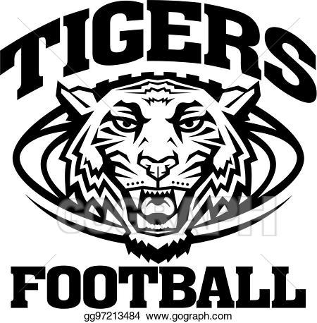 Vector stock tigers illustration. Football clipart tiger