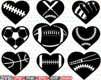 Sports heart balls baseball. Clipart football valentines