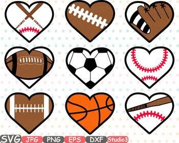 Sports heart balls baseball. Football clipart valentines
