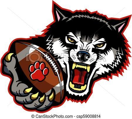 Wolves clipart football. Vector stock illustration royalty