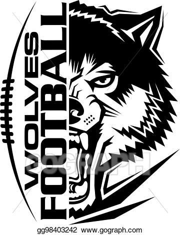 Vector stock illustration . Wolves clipart football