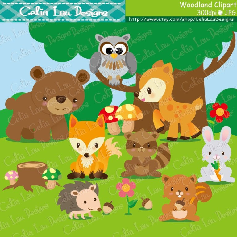 Woodland animals clip art. Clipart forest