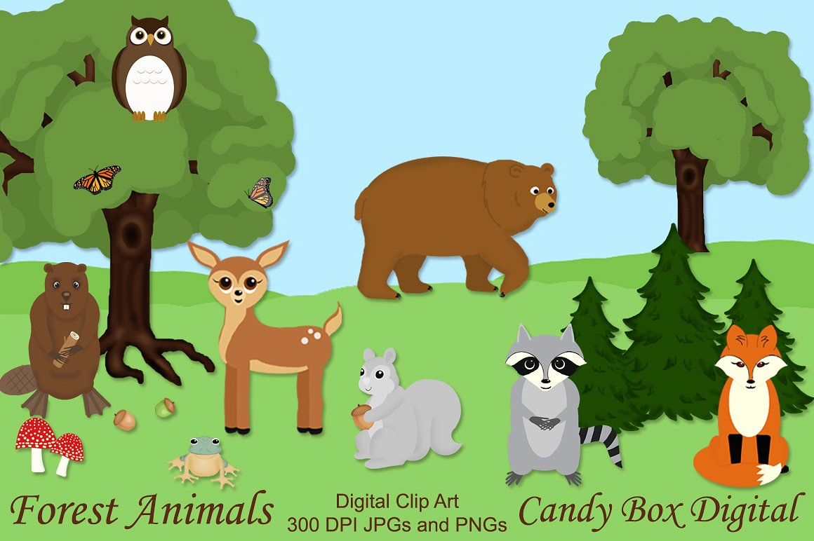 Forest clip art illustrations. Woodland clipart animal community