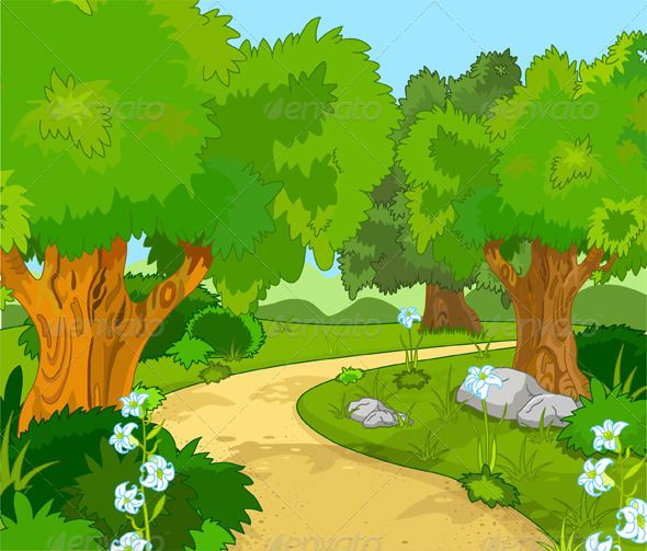 Forest clipart cartoon. A greenforest landscape with