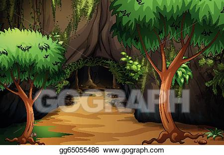 Eps vector a at. Jungle clipart cave in