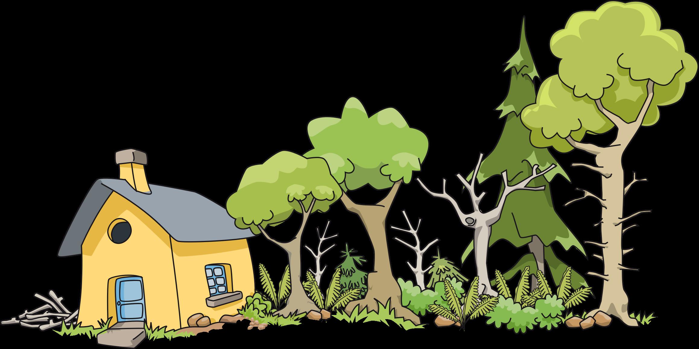 Clipart leaf house. Maison dans le bois