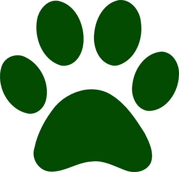 Forest green paw print. Wildcat clipart maroon