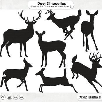 Deer clipart forest deer. Woodland silhouettes digital stamps