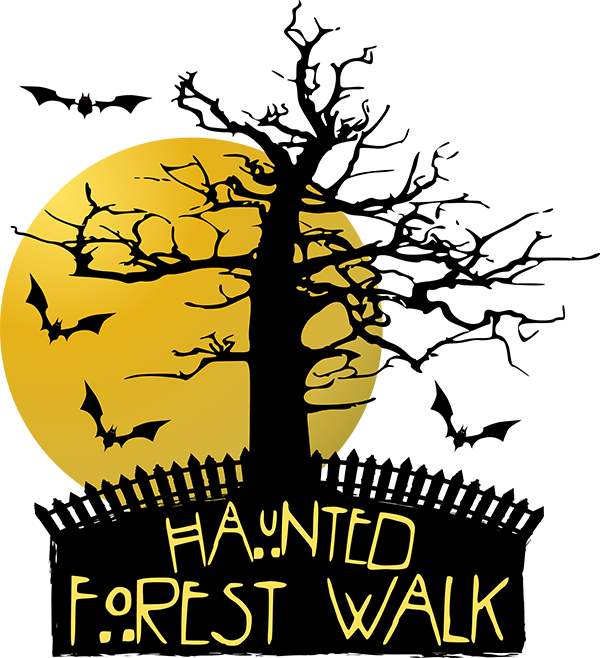 Haunted forest walk woodridge. Trail clipart woods