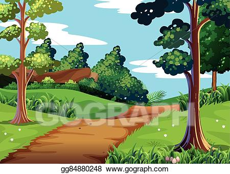 Vector nature scene with. Trail clipart forest trail