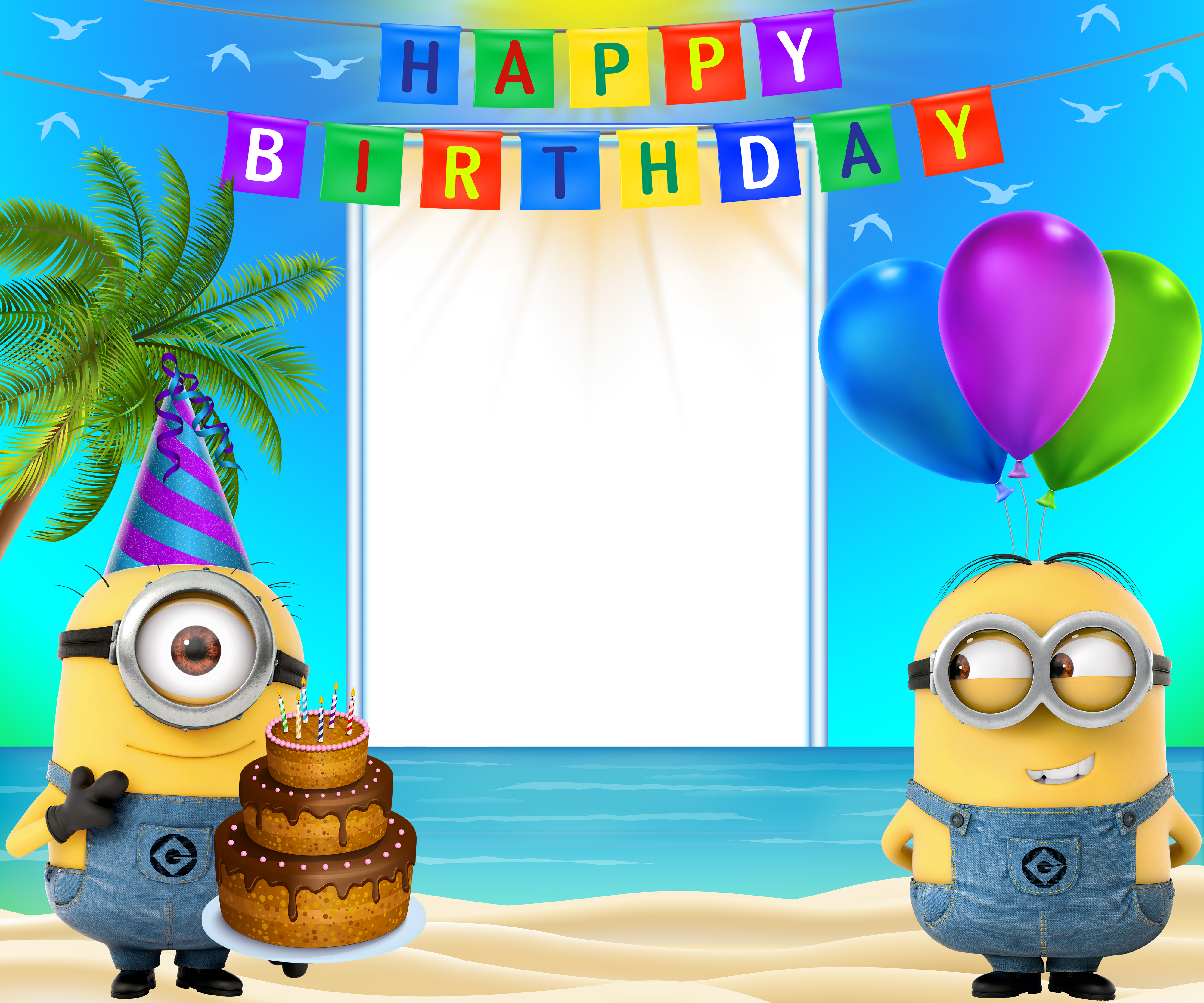 Happy birthday transparent frame. Minions clipart print
