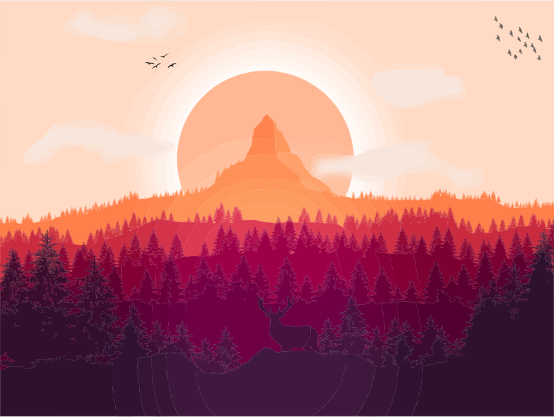 Hills clipart dawn sunrise. Flat shaded forest landscape