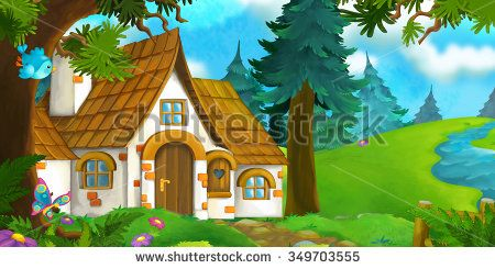 Cartoon background of an. Houses clipart landscape