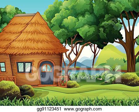 Vector art wood cabin. Hut clipart forest