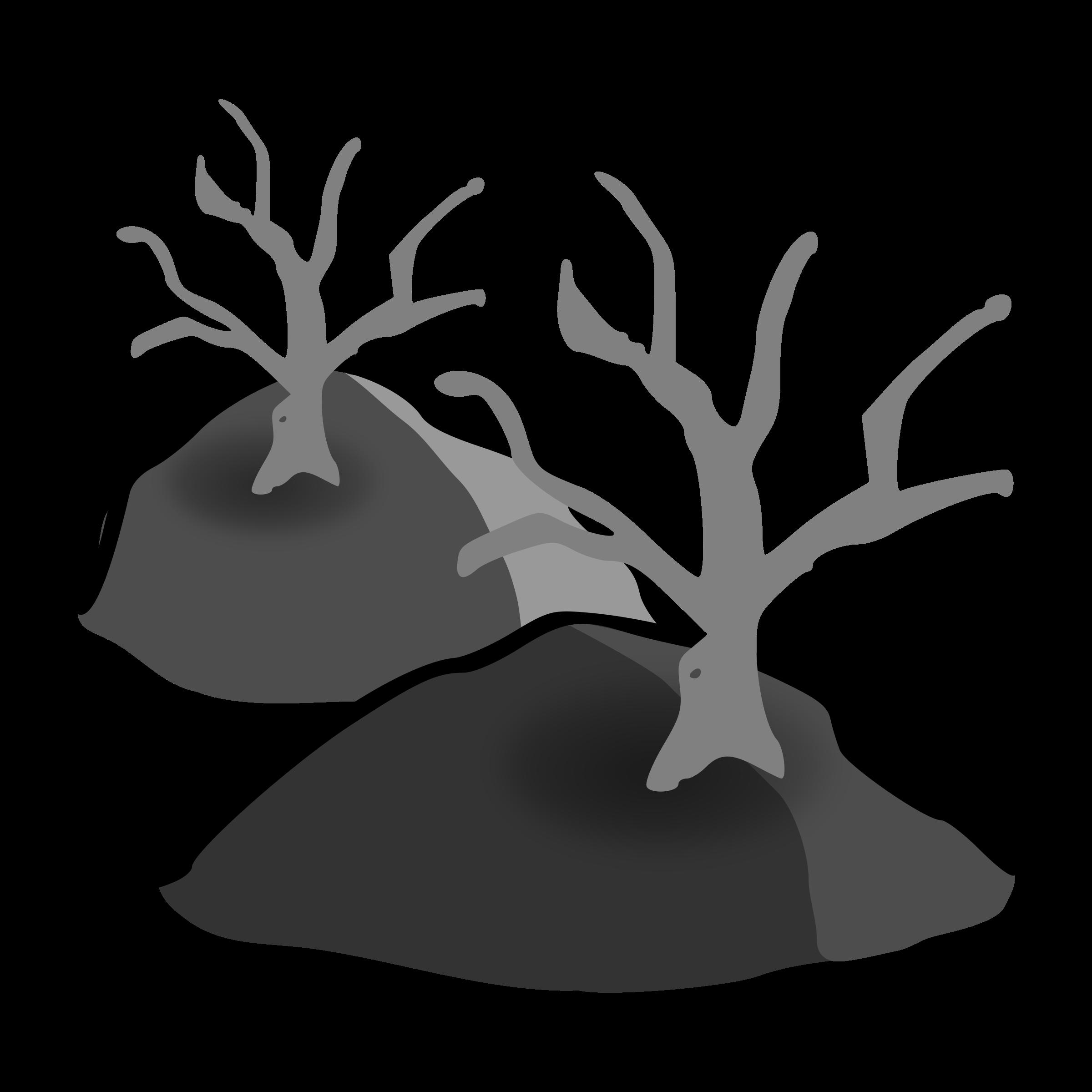 Dead forest big image. Hills clipart illustration