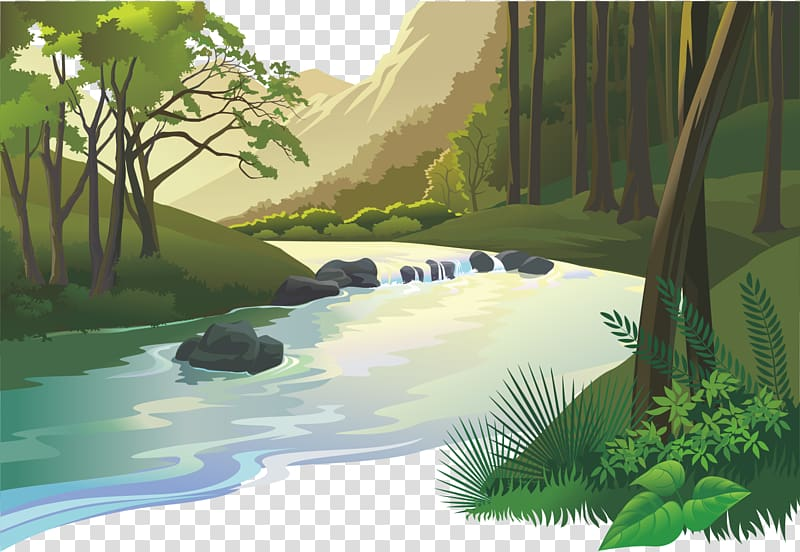 Lake clipart forest stream. River and illustration natural