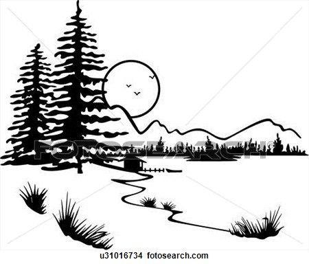 Lake clipart forest. Illustrated panels country moon