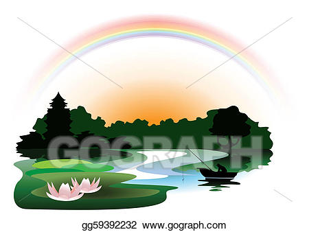 Lake clipart woods. Vector art evening in