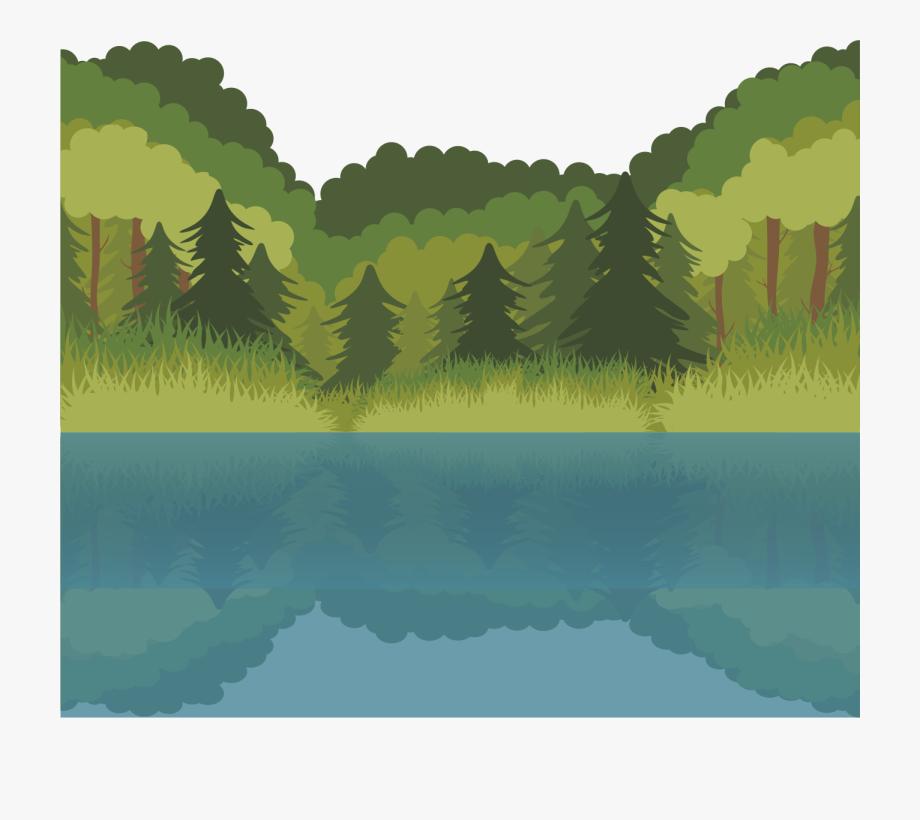 Euclidean free . Lake clipart forest