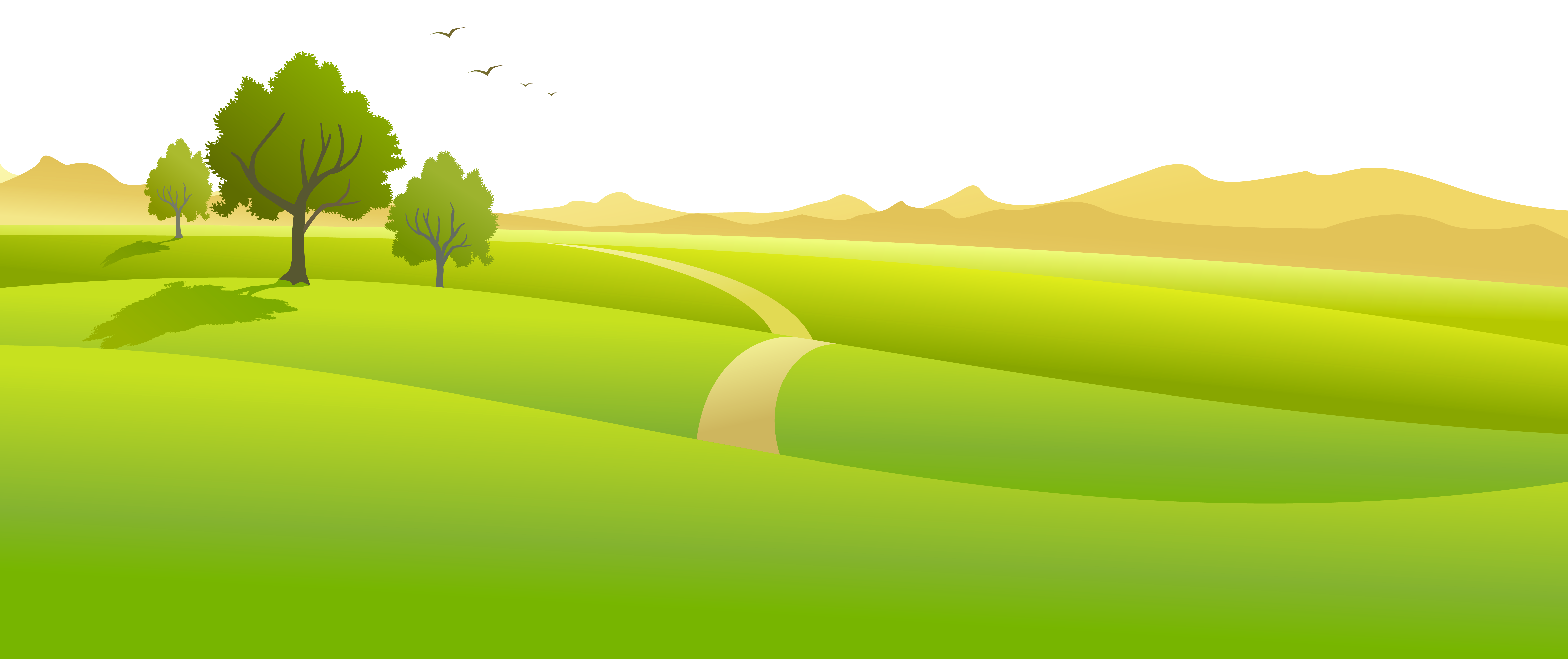 Meadow ground with trees. Landscape clipart worker