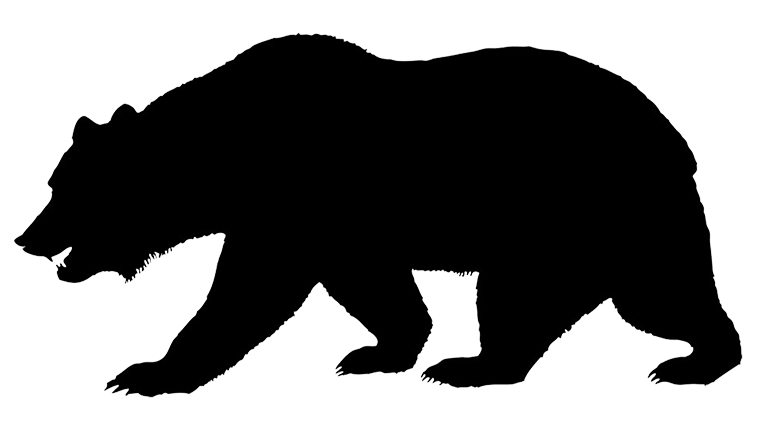 Wolves clipart woodland. Silhouette of bear jogging