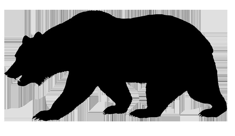 Hedgehog clipart silhouette. Of bear jogging through