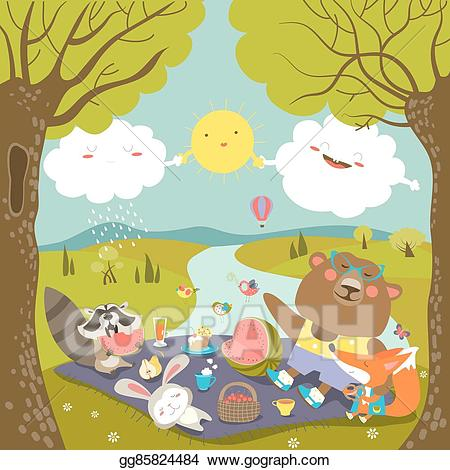 Picnic clipart forest. Vector art animals at