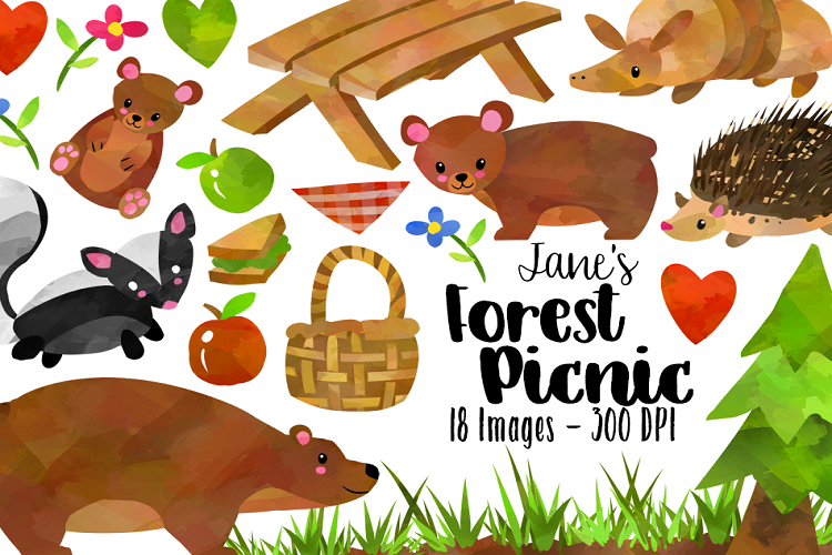Watercolor . Picnic clipart forest