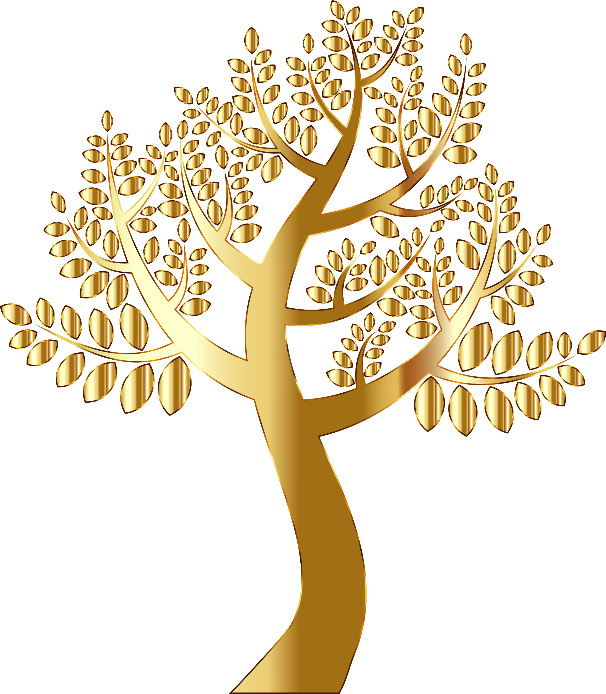 Gold tree without background. Clipart ruler simple