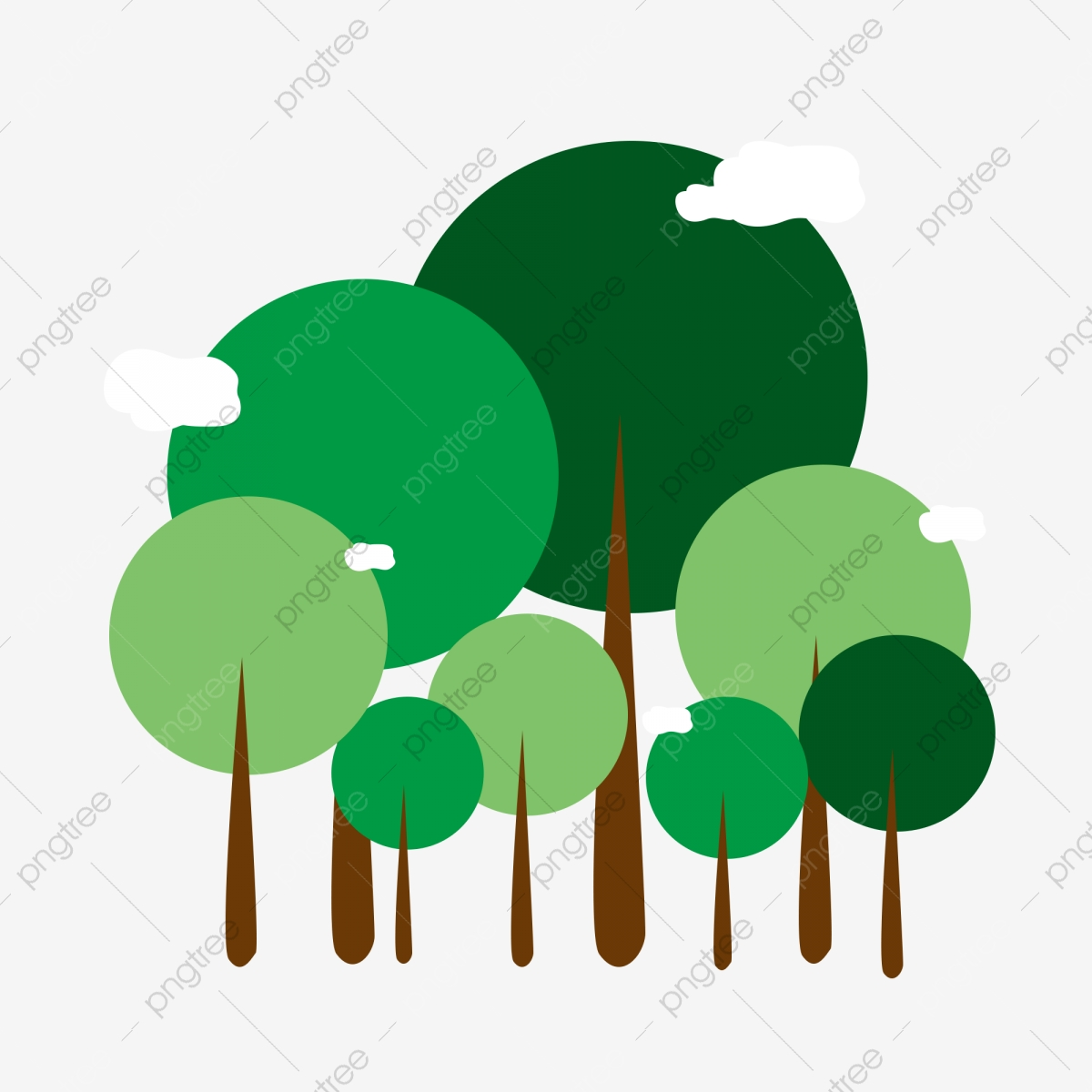 Clipart forest simple. Green white clouds arbor