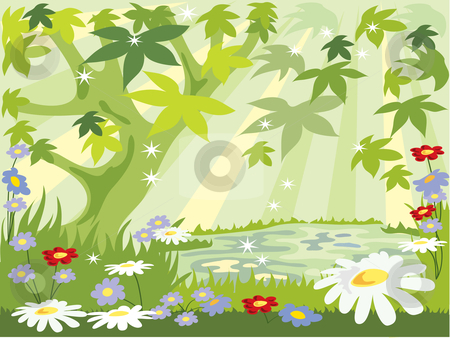 Clipart forest summer. Leaves stock vector