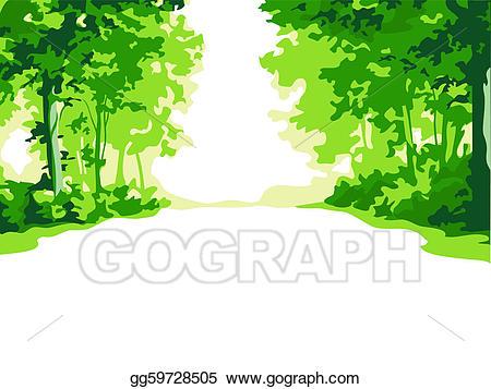 Vector art drawing gg. Clipart forest summer