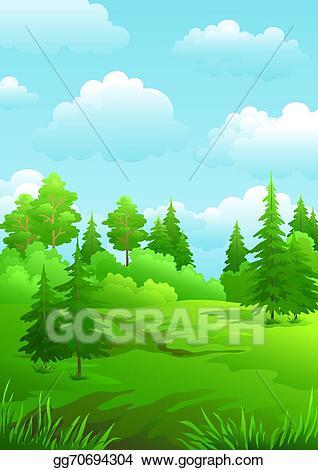 Vector stock landscape green. Clipart forest summer