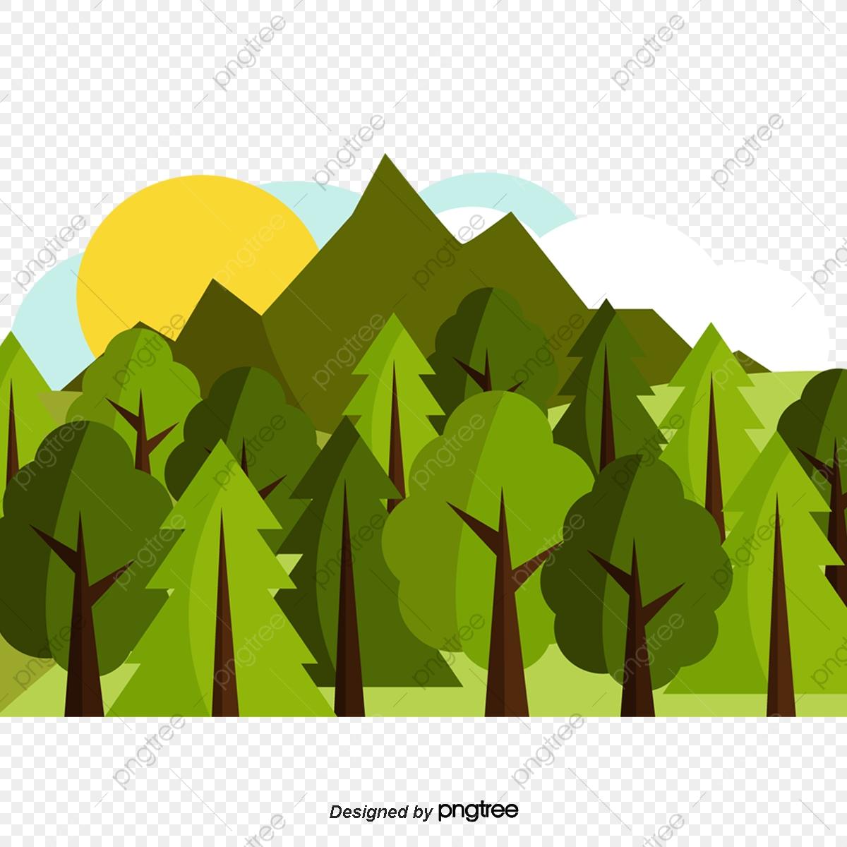 Cartoon setting sun woods. Sunset clipart forest
