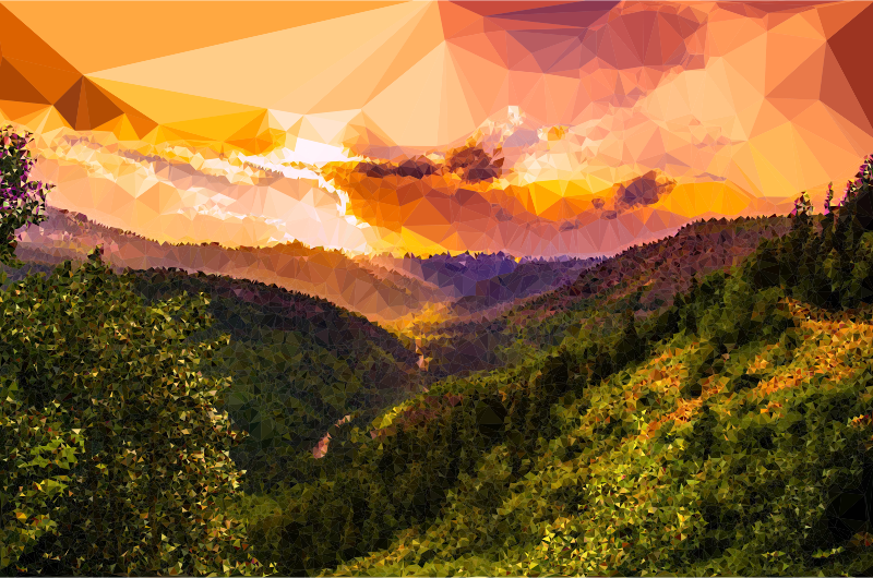 Hill clipart natural vegetation. Low poly montana sunset