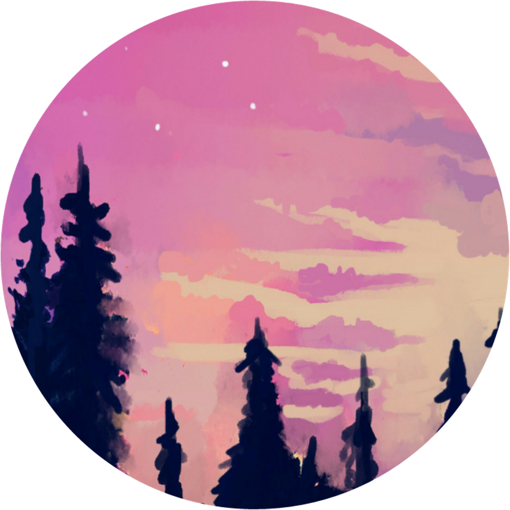 Sunset clipart forest. Aesthetic aestheticcircle pink sky