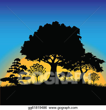 Sunset clipart forest. Vector art silhouette drawing