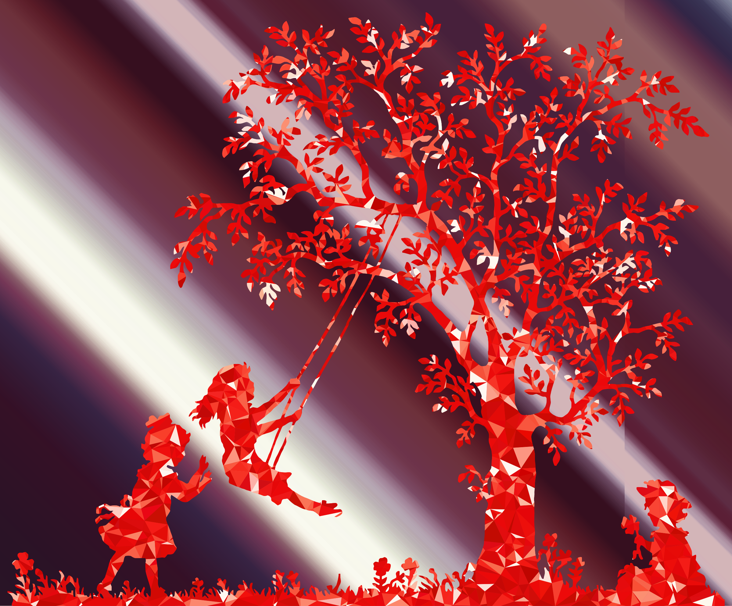 Shafts of light ruby. Clipart forest vintage