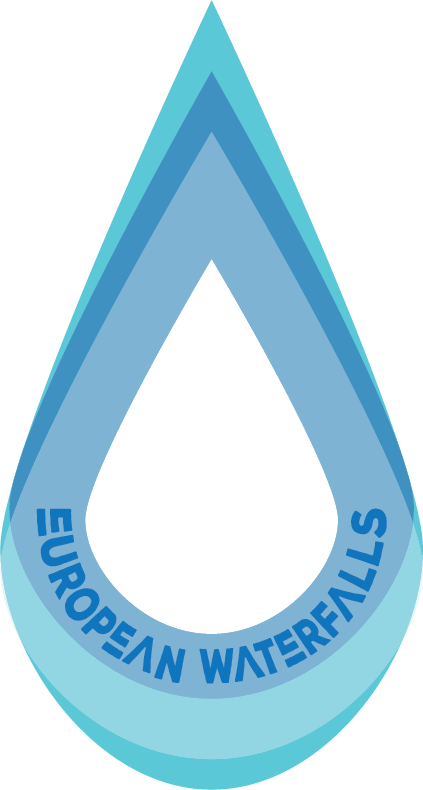 Home european waterfalls logo. Mountains clipart waterfall