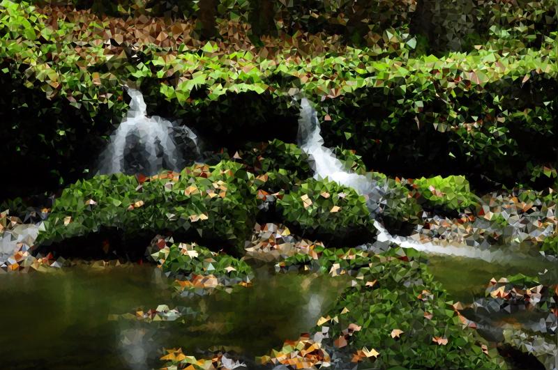 Medium poly dark forest. Nature clipart creek