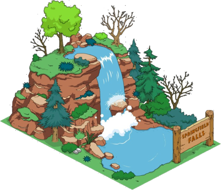 Clipart mountains waterfall. Springfield falls the simpsons