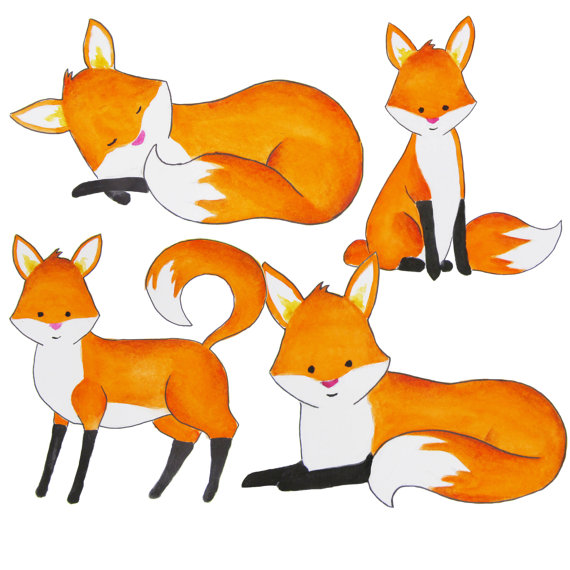 Clipart fox. Watercolor foxes red clip