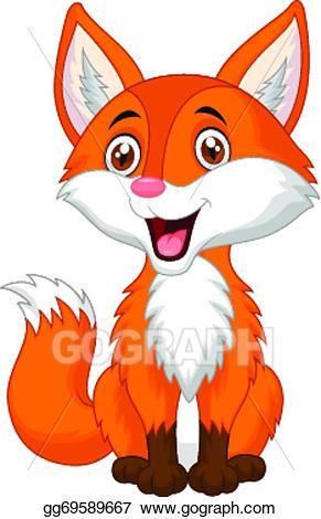 Vector art cute cartoon. Fox clipart animated