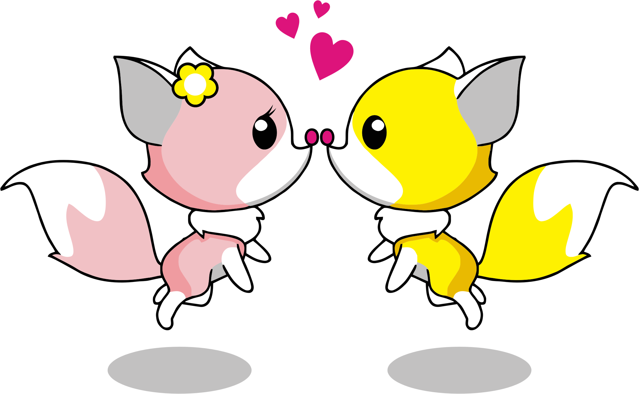 Cartoon foxes romantic big. Couple clipart fox